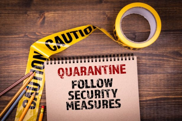 Quarantine. Follow security measures. Yellow plastic caution tape